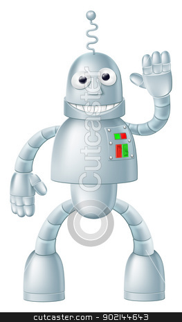 Fun Robot Charcater stock vector clipart, A drawing of a cute fun robot character waving and smiling by Christos Georghiou