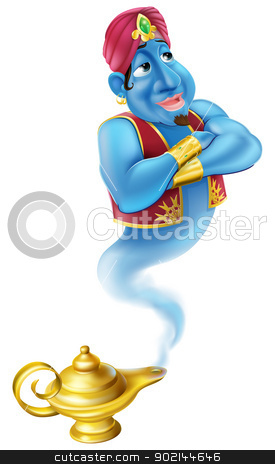 Friendly Jinn or genie and magic oil lamp stock vector clipart, Illustration of a friendly Jinn or genie coming out of a gold magic oil lamp like the one in the Aladdin story by Christos Georghiou