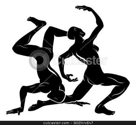 Stylised dancers illustration stock vector clipart, An illustration of a stylised black dancers or gymnasts perhaps a dancer tattoo by Christos Georghiou