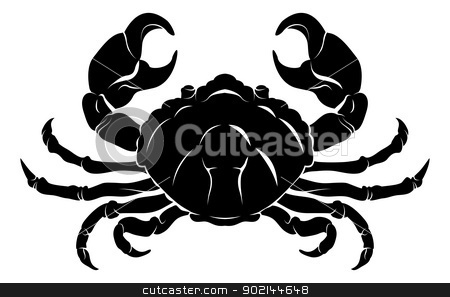 Stylised Crab illustration stock vector clipart, An illustration of a stylised black crab perhaps a crab tattoo by Christos Georghiou