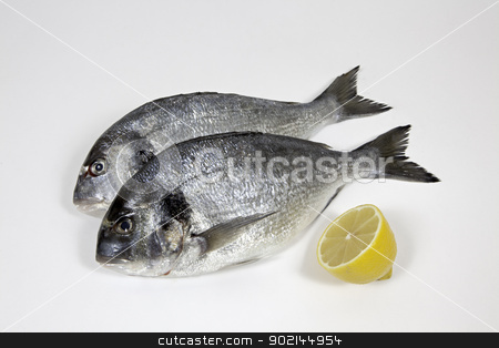 Fish stock photo, Fishes with lemon on withe background by Mola Kaliva