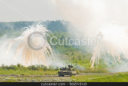 Tank T-80 stock photo, Russian tank T-80 making smoke screen from enemy by Aikon