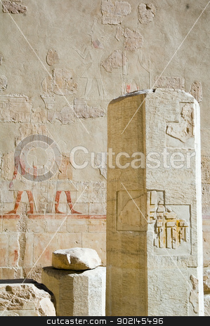 Pillar in temple of Hatchepsut stock photo, Pillar in temple of Hatchepsut, Luxor, Egypt by Aikon