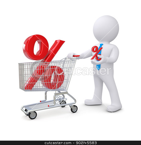3d white man with a cart and percent sign stock photo, 3d white man with a cart and percent sign. Isolated render on a white background by cherezoff