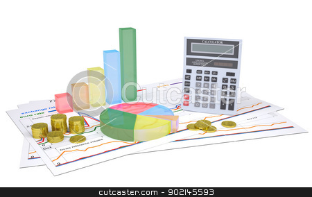 Economic charts, gold coins and a calculator stock photo, Economic charts, gold coins and a calculator. Isolated render on a white background by cherezoff