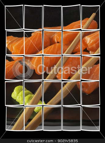 salmon sushi stock photo, slice of salmon sushi with wasabi sauce by Francesco Perre
