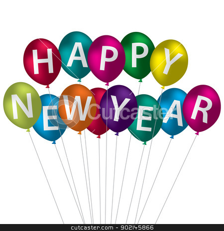 Happy New Year stock vector clipart, Multi-coloured Happy New Year balloon card in vector format.  by piccola