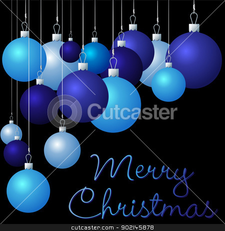 Merry Christmas stock vector clipart, Blue group of Christmas baubles in vector format. by piccola
