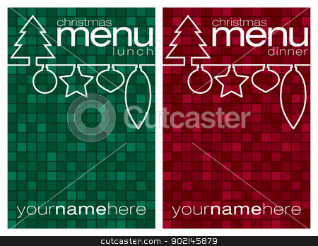 Merry Christmas stock vector clipart, Red and green mosaic line Christmas lunch and dinner menus in vector format. by piccola