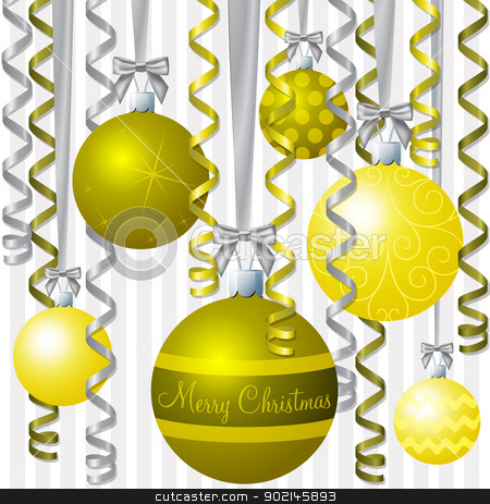 Baubles stock vector clipart, Yellow ribbon and bauble inspired Christmas card in vector format.  by piccola