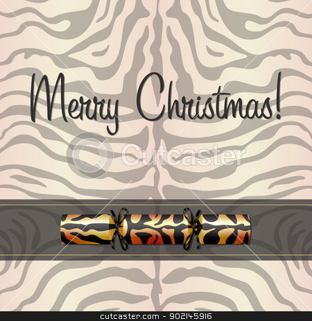 Leopard Card stock vector clipart, Tiger Christmas cracker card in vector format. by piccola