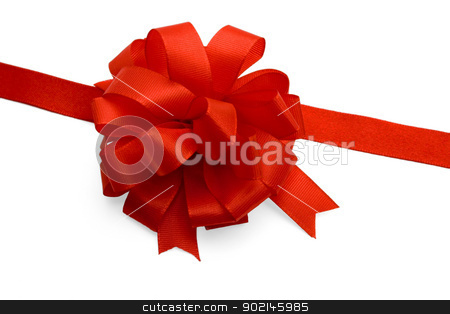 Red bow ,isolated on white background stock photo, Red bow to be used in placing on top of items - gifts, products, etc.  by Vladyslav Danilin