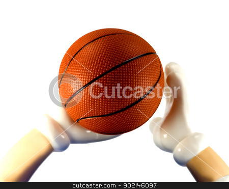 Basketball  stock photo, basketball on hand close up,isolated on a white background by Vladyslav Danilin