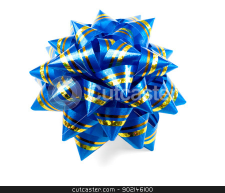 Gift blue bow isolated on  white background   stock photo,  blue bow isolated on  white background,to be used in placing on top of items - gifts, products, etc.  by Vladyslav Danilin
