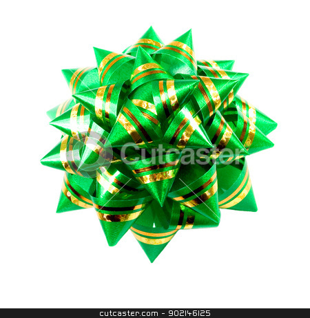 Green bow   isolated on white background stock photo, Green bow isolated on white background,to be used in placing on top of items - gifts, products, etc. by Vladyslav Danilin