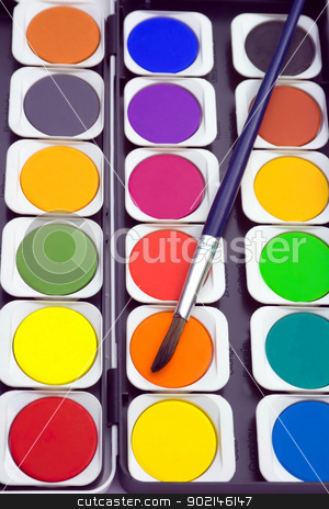 Paints and paintbrush stock photo, Close-up of watercolor paints and paintbrush. by Vladyslav Danilin