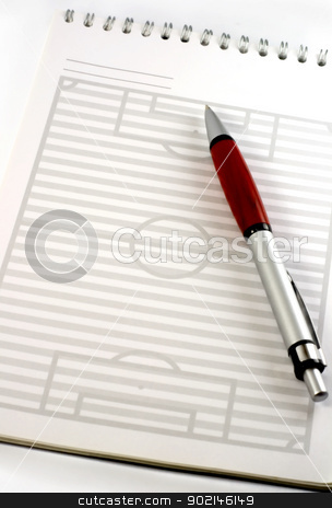 pen and notepad stock photo, red pen and pad is strategy football field  by Vladyslav Danilin