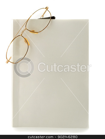 Blank white book spectacles stock photo, Blank white book spectacles close-up isolated on white background by Vladyslav Danilin