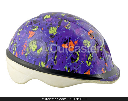 helmet stock photo, helmet bicycle equipment protection head , close-up isolated on white background by Vladyslav Danilin