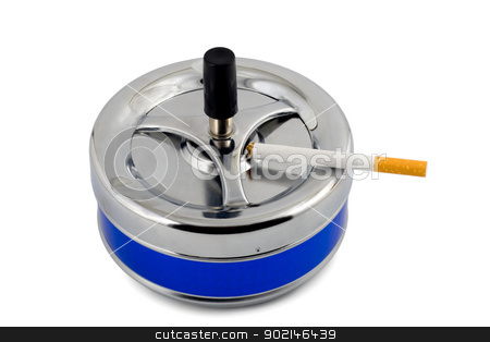 smoking stock photo, ashtray cigarette close-up isolated on white background by Vladyslav Danilin