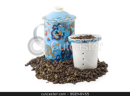 Green tea  stock photo, Green tea  isolated on white background by Vladyslav Danilin