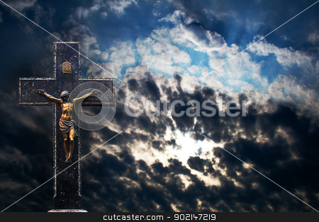 Cross at Sunset stock photo, Jesus Christ on the Cross at Sunset background by Vladyslav Danilin