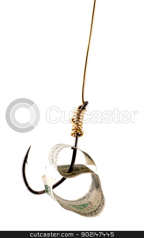 dollar USA on fishing hook stock photo, dollar USA on fishing hook isolated on white background. by Vladyslav Danilin