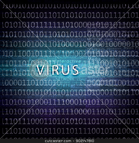 computer virus symbol stock photo, A computer virus detection symbol illustration with word Virus by Sergey Nivens