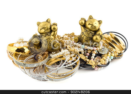 cats talismans stock photo, golden lucky cats talismans isolated on white background  by Vladyslav Danilin
