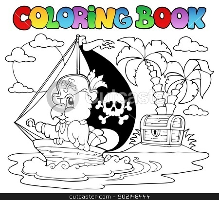 Coloring book pirate parrot theme 2 stock vector clipart, Coloring book pirate parrot theme 2 - vector illustration. by Klara Viskova