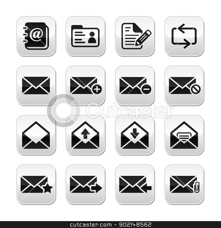 Email mailbox vector buttons set stock vector clipart, Modern icons on grey square buttons - communication, getting in touch by Agnieszka Bernacka