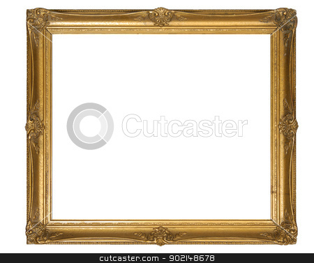 foto frame stock photo, old gold frame on a white background by Jolanta Rutkowska