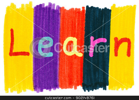 Learn, written with colorful felt tip marker ink pens. stock photo, Learn, written with colorful felt tip marker ink pens. by Stephen Rees