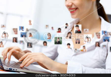 Business technologies today stock photo, Young business person working with a notebook by Sergey Nivens