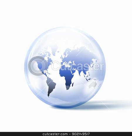 the world inside a glass sphere stock photo, the world or our planet earth inside a glass sphere by Sergey Nivens