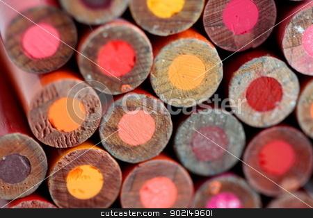 Pencils Back stock photo, Different color pencils back as background by Henrik Lehnerer