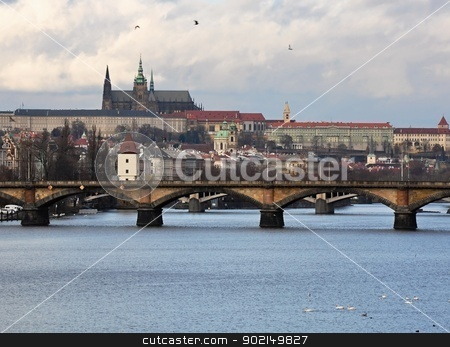 Prague Castle stock photo, Prague Castle with the Vltava river in winter time by Ondrej Vladyka