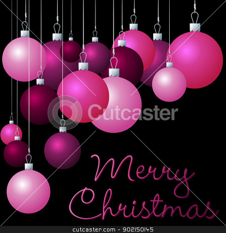 Merry Christmas stock vector clipart, Pink group of Christmas baubles in vector format.  by piccola