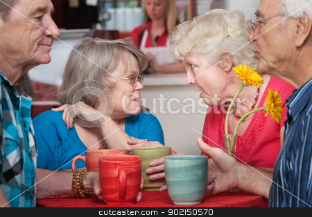 Senior Couples Chatting in Cafe stock photo, Mature group of husbands and wives gossiping in a restaurant  by Scott Griessel