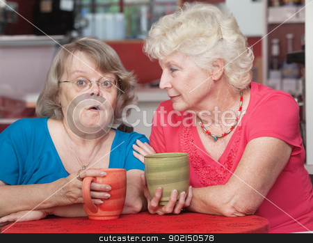 Concerned Friends Talking in Cafe stock photo, Surprised older woman talking with her friend in a cafe by Scott Griessel