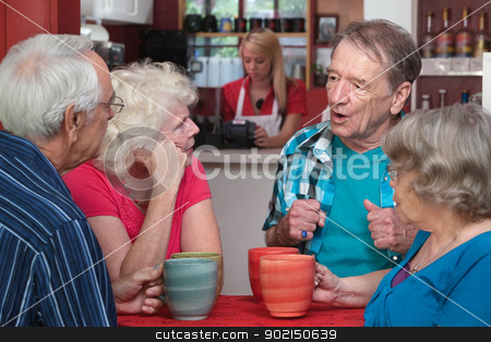 Seniors in Conversation stock photo, Four Caucasian senior adults with coffee mugs in conversation by Scott Griessel