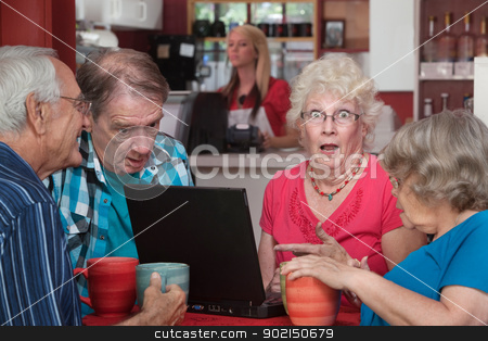 Shocked Seniors with Laptop stock photo, Shocked female senior adult with wide eyes and laptop by Scott Griessel