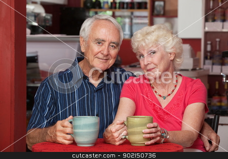 Adorable Senior Couple stock photo, Adorable Caucasian senior couple at indoor cafe by Scott Griessel