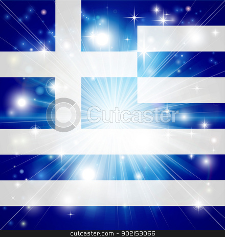 Greek flag background stock vector clipart, Flag of Greece background with pyrotechnic or light burst and copy space in the centre by Christos Georghiou