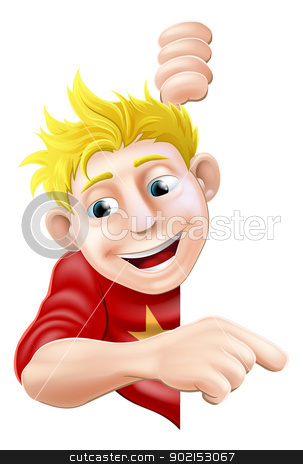 Friendly Young man or Boy Pointing stock vector clipart, An illustration of a cool friendly young man character behind a sign or banner pointing a finger at it by Christos Georghiou