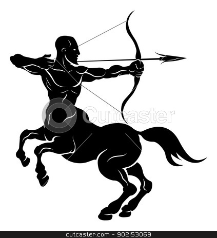 Stylised centaur archer illustration stock vector clipart, An illustration of a stylised black centaur archer perhaps a centaur archer tattoo by Christos Georghiou