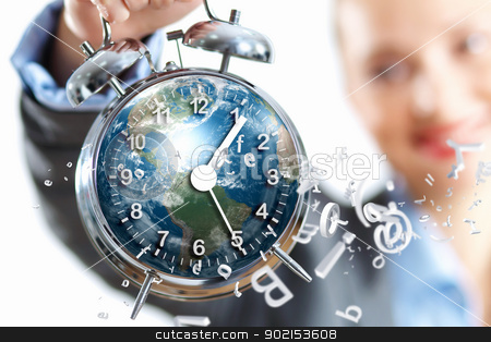 Time in business stock photo, Time in business illustration with clock in hands of businesswoman. Elements of this image are furnished by NASA by Sergey Nivens