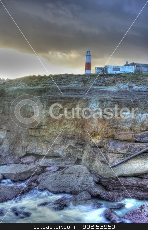 Portland Bill Light House HDR stock photo, Fishing Huts at Portland Bill on Portland in Dorset high dynamic range by Ollie Taylor