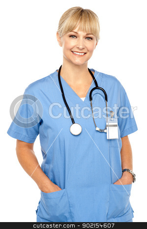 Pretty medical professional posing casually stock photo, Pretty medical professional posing casually, stethoscope around her neck. by Ishay Botbol