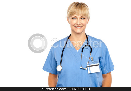 Calm and composed medical expert stock photo, Calm and composed medical expert with stethoscope around her neck. by Ishay Botbol   
